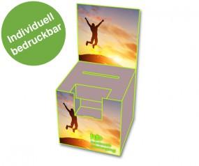Losbox mit Topschild und Dispenser Hochformat