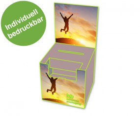 Losbox mit Topschild und Dispenser Querformat