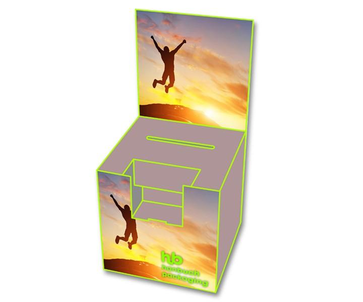 Frontansicht Losbox mit Topschild + Dispenser